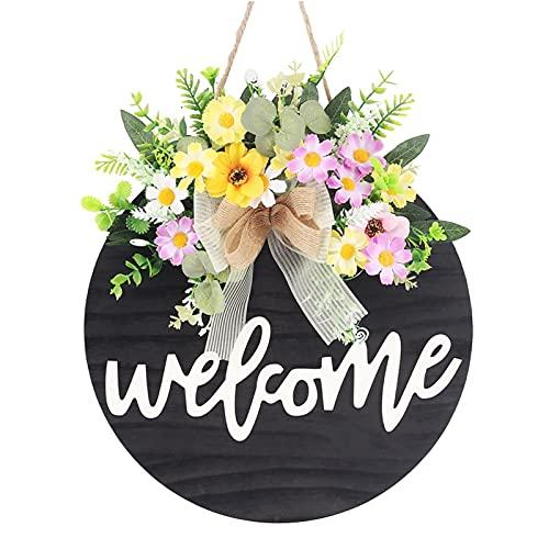 Señal de bienvenida para puerta delantera, gran puerta de bienvenida para casa de campo, perchas de madera rústica, porche frontal, decoración de 14 pulgadas, para el hogar, al aire libre, interior