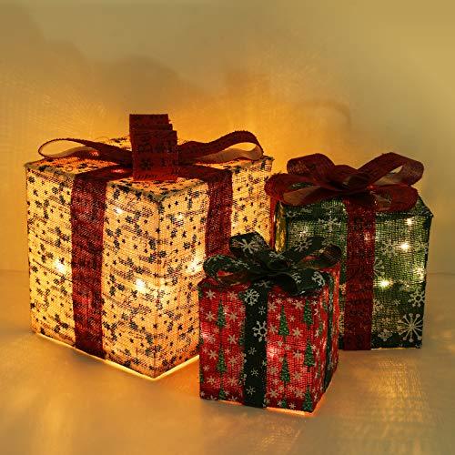 Lewondr 3 PZ Confezione Regalo Illuminate con Lampada LED, 25/20/15cm Luce Decorativa a LED con Fiocchi di Neve, Ornamenti per Alberi Natale Decorazioni Natalizie per Casa Interni Esterni - Colorato