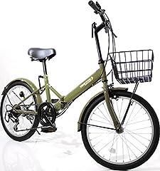 期間限定応援価格 20インチ 折りたたみ自転車 AJ-08-T シマノ6段ギア カゴ・ワイヤー錠・ライト付(カーキ)