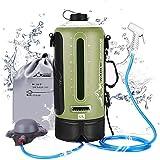 Campingdusche Solardusche Gartendusche mit Pumpe, 3 Gallonen, 12L, Duschkopf tragbare und Abnehmbarem Schlauch Duschen Beutel Shower für Wandern, im Freien, Klettern - Grün