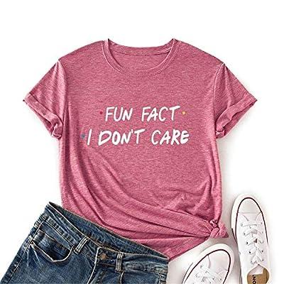 Amazon - 50% Off on  Fun Fact I Don't Care T Shirt Women Short Sleeve Casual Cute Shirt Tops