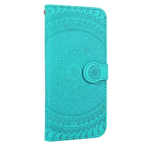 Galaxy A7 2018 Hülle Handyhülle, Premium Leder Flip Schutzhülle [Standfunktion] [Kartenfächer] [Magnetverschluss] lederhülle klapphülle für Samsung Galaxy A7 2018/A750FN - TTHM020133 Hellgrün