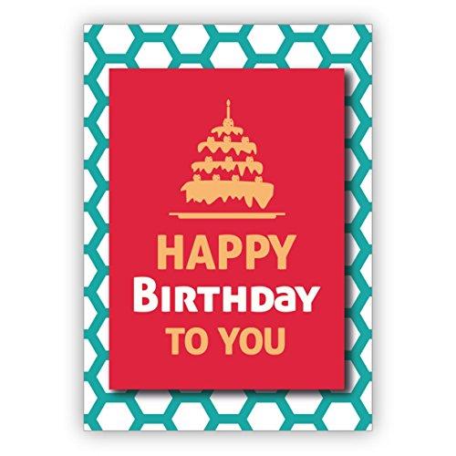 Chique moderne, rode turquoise verjaardagskaart met verjaardagstaart op honingraatpatroon: Happy Birthday to you • rechtstreeks verzenden met uw tekst als inlegger • Cadeaukaart met envelop