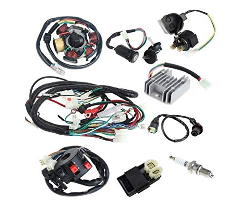 Anngo Complete Electrics All Wiring Harness Wire Loom Assembly for GY6 4-Stroke Engine Type 125cc 150cc Pit Bike Scooter ATV Quad
