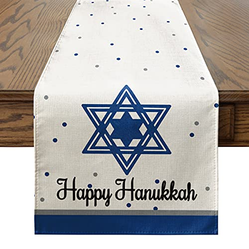 Artoid Mode Happy Hanukkah Table Runner, Menorah Jewish Chanukah Holiday Kitchen Dining Table Decoration for Indoor Outdoor Home Party Decor 13 x 72 Inch