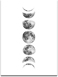OCIOLI Moon Phrase Canvas Wall Art Print Unframed,Artwork Abstract Space Black and White Galaxy Pictures for Living Room Bedroom (16x24 inch, White)