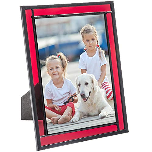 J Devlin Colored Easel Back Series - Stained Glass 5x7 Picture Frame Displays Horizontally or Vertically (Red)