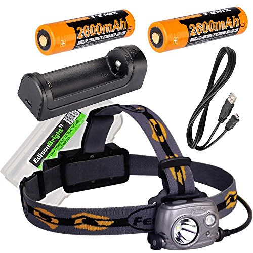 Fenix HP25R 1000 Lumen USB rechargeable CREE LED Headlamp, 2 X Fenix 18650 rechargeable Li-ion batteries,ARE-X1 charger with EdisonBright BBX3 battery carry case bundle