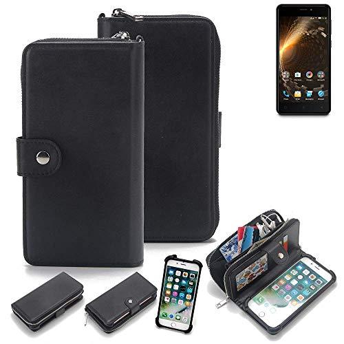 K-S-Trade® 2in1 Handyhülle Für Allview P9 Energy Mini Schutzhülle und Portemonnee Schutzhülle Tasche Handytasche Case Etui Geldbörse Wallet Bookstyle Hülle Schwarz (1x)