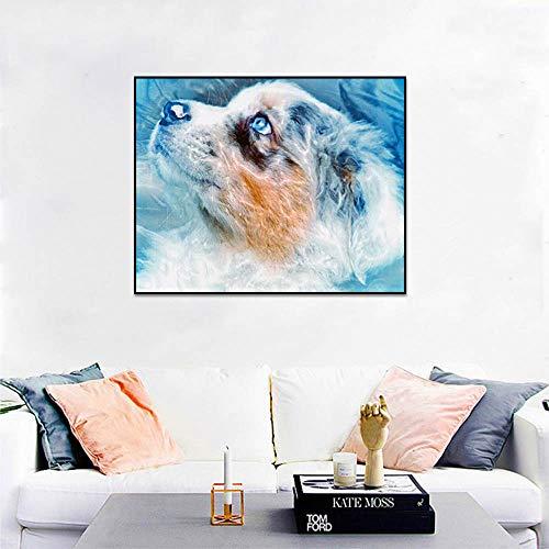 Geiqianjiumai Aquarell Tier Hund Plakate und Drucke niedlichen Wandbilder Wohnzimmer Wanddekoration Kunst Leinwand Malerei rahmenlose Malerei 60x75cm