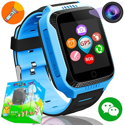 Kids Smartwatch Phone,Smart Watches for Boys Girls Children with GPS Tracker SOS Calls SIM Card Slot Pedometer Anti-lost Alarm Camera Electronic Learning Toys Holiday Birthday Gifts (Blue)