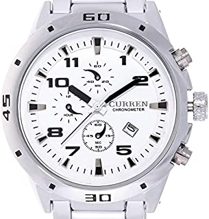 Curren Mens White Dial Stainless Steel Band Watch [8021]