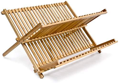 Wagtail Secaplatos Escurridor de Madera de Bambú en 2 Niveles,Estante Bambu para Platos.