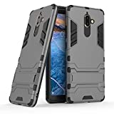 Nokia 7 plus case,Stylish cover GOGME [Tough Armor Series]Rugged TPU/PC Hybrid Armor, Anti-Scratch PC back panel + Shockproof TPU bumper+Foldable holder,Ultra-thin phone shell for Nokia 7 plus. gray