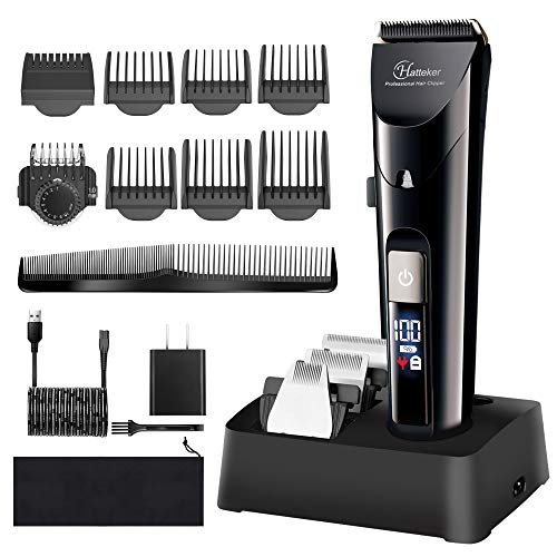 Hatteker Mens Hair Clipper Beard Trimmer Cordless Precision Trimmer Waterproof Professional Hair Cutting Grooming Kit For Men USB Rechargeable LED Display 4 in 1