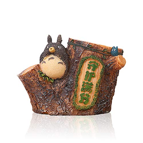 Lependor Adorable Stump-Shaped My Neighbor Totoro Pen Holder Cute Japanese Animation Pen Container (with Whistle)