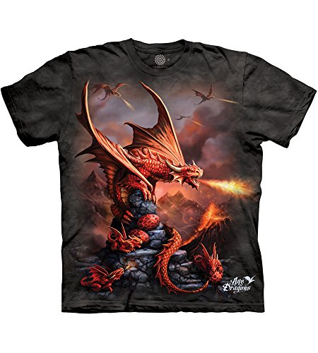 The Mountain Fire Dragon Adult T-Shirt, Grey, Large