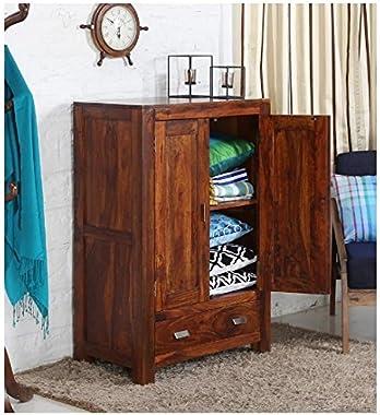 Shilpi Handmade Solid Wood Small Wardrobe in Honey & Glossy Finishing Look