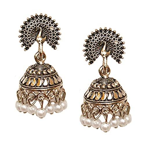 Pahal - Pendientes tradicionales de plata con perla blanca y diseño de pavo real del sur de la India Bollywood para fiestas