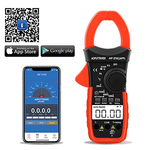 Digital Clamp Meter Bluetooth Multimeter Berührungslose Stromzange für Multimeter AP-570C-APP 4000 Counts Auto Range AC/DC Spannung Strom Widerstand Kapazitanz Frequenz Testen