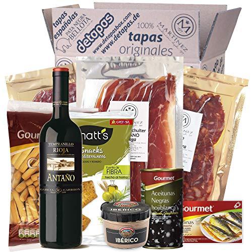 Präsentbox - Tapas-Abend für Zwei I Tapas para dos I Geschenk für Feinschmecker und Spanienfans | Spezialitäten aus Spanien | Geschenk für Männer & Frauen
