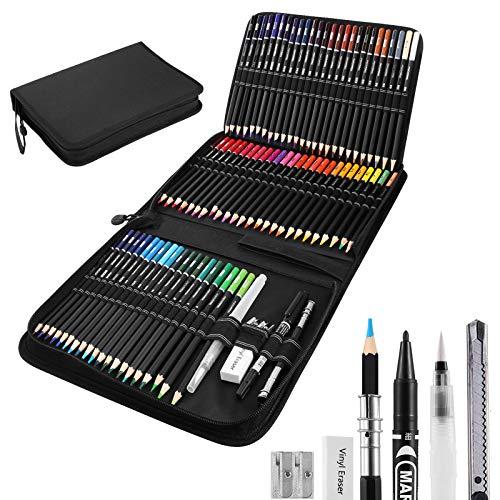 DazSpirit 72 Set de Lapices Acuarelables, Pinturas Acuarelables Lapices Colores de Dibujo para Adultos y Niños con Accesorios y Bolsa de Transporte Premium