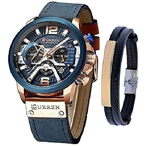 Relojes Hombres Reloj cronógrafo de Cuero de Cuarzo y Conjunto de Pulsera de Moda Relojes Azules para Hombres Reloj de Pulsera de Lujo Regalos (Azul)