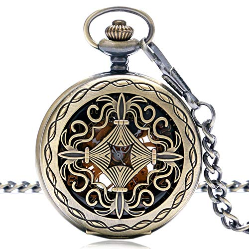 XVCHQIN Men Women Pocket Watch Retro Mechanical Hand Wind Ste unk Pendant Chain Bronze Classic Roman Number Gift,Black