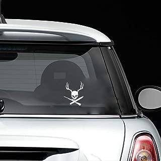 tyande Car Sticker Car Decal 12.9x16.1Cm Interesting Outdoor Skull Buck Antlers Hunting Decor Car Sticker Silhouette for Car Laptop Window Sticker
