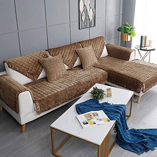 CHHD Funda de sofá de Invierno de 3 plazas, cojín de sofá Grueso Antideslizante, Funda de sofá para Perros Fundas de sofá seccionales, Toalla de sofá de Varios tamaños, Gris 110x240cm (