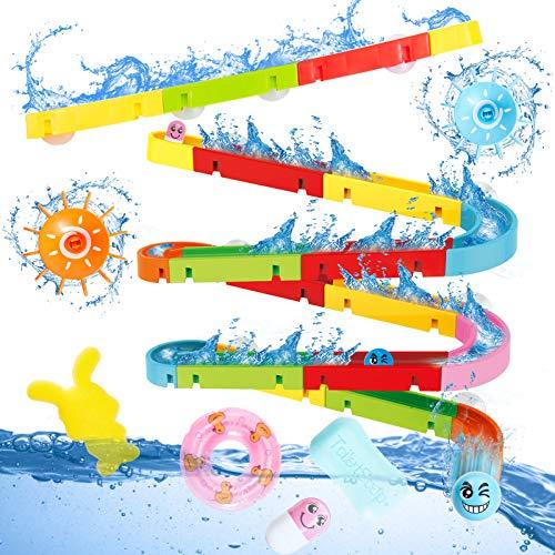 Buyger Baby Badespielzeug Badewannenspielzeug Wasserspielzeug Kugelbahn Bausteine Badewanne Spielzeug für Kinder Junge Mädchen