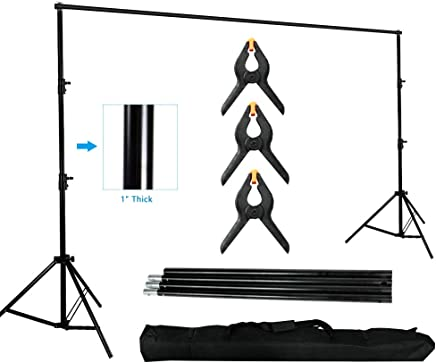MOUNTDOG Photography Background Stand 10ft Backdrop Support System Kit Photo Video Studio Adjustable Heavy Duty with Carrying Bag