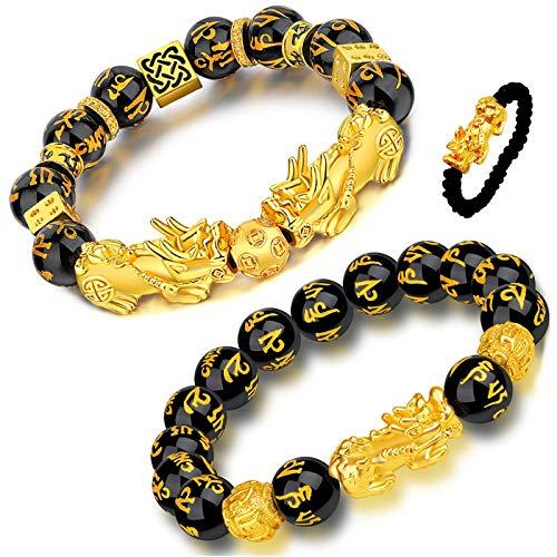 Homelavie 2 Pcs Feng Shui Black Obsidian Wealth Bracelet 12mm Mantra Bead Pi Xiu Bracelets for Women Men Attract Wealth and Good Luck (Style A)