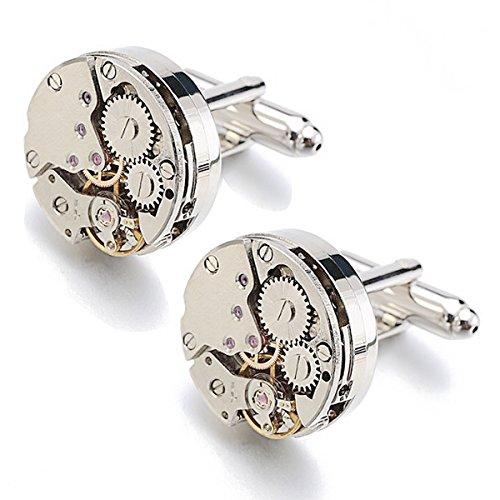 RXBC2011 Handgemachtes Manschettenknöpfe Cufflinks Steampunk Uhrwerk mit Leder Geschenkbox