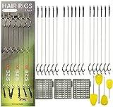 Shaddock 18pcs Karpfenangeln Haar-Rigs Boilie Rig Karpfen Vorfach Geflochtene Schnur Angelhaken Handgefertigt Karpfenrigs mit Boilie-Stoppers -