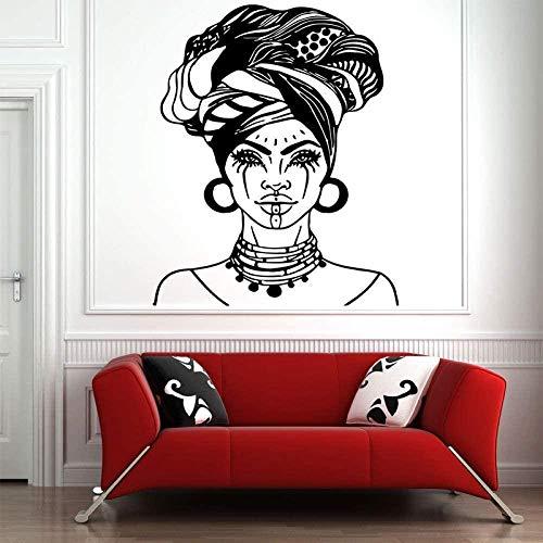 Aplique africano tribal apliques hermosa niña negra decoración de casa negro mujer vinilo pared arte autoadhesivo pared mural DIY 42x51cm