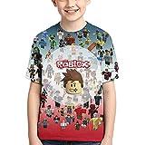 Miollibarn Boys and Girls T-Shirts 3D Printed Game Short Sleeved Children's T-Shirt E-Medium