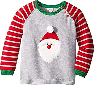 Mud Pie Baby Boy's Santa Long Sleeve Christmas Sweater (Infant/Toddler) Red SM (12-18 Months)