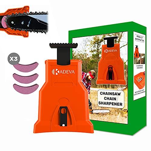 Afilador cadena motosierra portatil con kit 3 piedras de afilado ideal para repaso de cadena en lugar de trabajo afiladora para afilar cadenas de motosierra naranja
