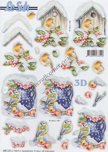 Christmas Birds 3D Die Cut Decoupage Sheet by Le Suh