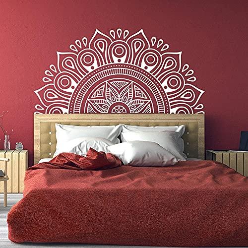 Media mandala cabecera pared calcomanía flor de loto Mandala decoración Zen indio Yoga pegatina decoración bohemia A2 42x85cm