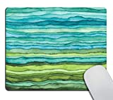 Blanche Lynd Tapis de Souris Vagues Bleues et Vertes Brillantes, Aquarelle Texture ondulée Design Tapis de Souris Tapis de Souris Tapis de Souris