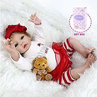 CHAREX Realistic Reborn Baby Dolls, 22inch Vinyl Silicone Baby Dolls, Lifelike Handmade Mohair Reborn Babies Girls Toy Gift with Bear