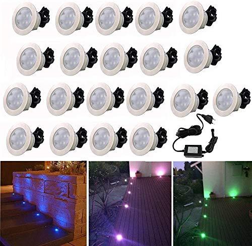 20 Spot Encastrable LED pour Terrasse,Mini Spot Encastré en DC12V IP67 Etanche Ø60mm Acier Inoxydable Exterieur luminaire,Eclairage pour Jardin,Couloir (RGB)