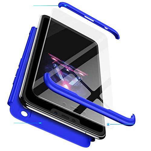 BIZHIKE Funda 360 Grados Integral para Huawei Honor 8X Ambas Caras+Cristal Templado 3 in 1 Slim Fit Dactilares Protectora Skin Caso Cover-Azul