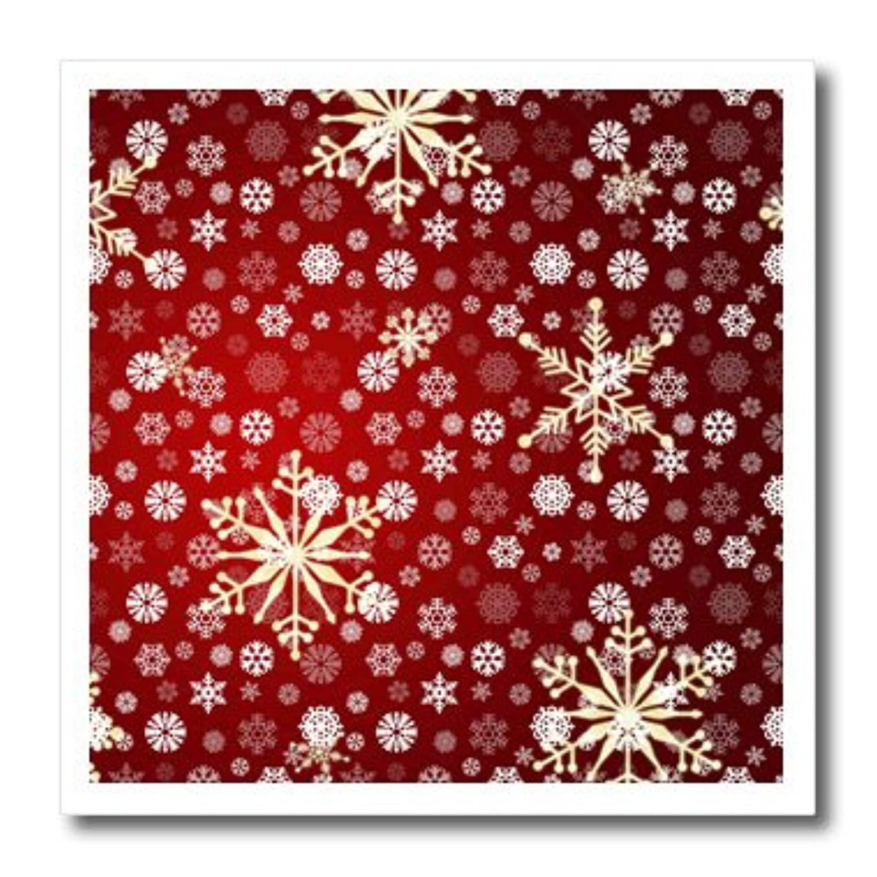 3dRose ht_59045_3 Red and White Christmas Snowflakes-Winter Art-Iron On Heat Transfer, 10 by 10