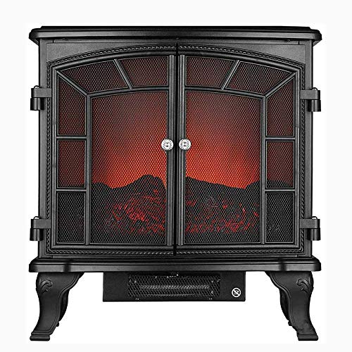 FMOGE Post Electric Kaminverkleidung Surround Firebox Freistehender Eckkamin Home Space Heather Einstellbare LED-Flammenfernbedienung 750 W 2000 W Schwarz