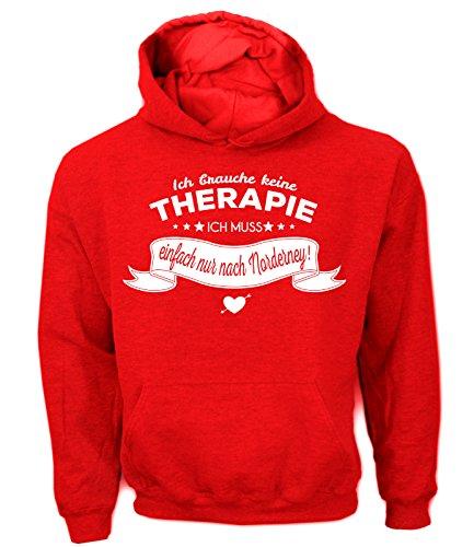 Artdiktat Herren Hoodie Ich Brauche Keine Therapie - Ich muss einfach nur nach Norderney Größe M, rot