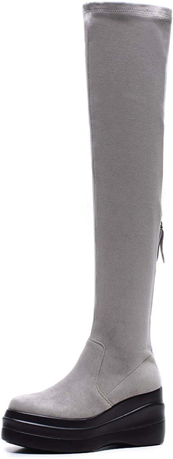 Nine Seven Suede Leather Women's Round Toe High Heel Casual Handmade Fashion Over The Knee Boots
