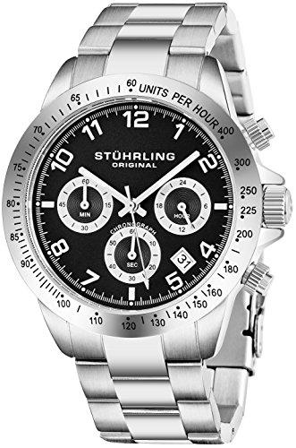 Orologio al quarzo Stuhrling Original per uomo, con cronografo, quadrante Nero, tachimetro,bracciale...